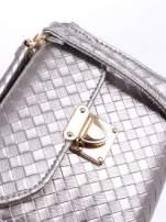 Szara pikowana mini torebka kuferek w stylu retro
