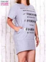 Szara sukienka dresowa z silver printem PLUS SIZE                                  zdj.                                  1
