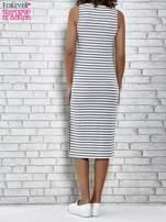 Szara sukienka w paski z rozcięciami                                   zdj.                                  5
