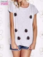 Szara t-shirt z aplikacją owadów                                                                          zdj.                                                                         1