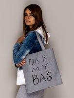 Szara torba materiałowa THIS IS MY BAG                                  zdj.                                  2