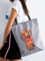 Szara torba materiałowa z nadrukiem psa                                  zdj.                                  1