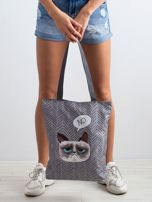 Szara torba na ramię z kotem                                  zdj.                                  3