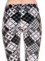 Szare legginsy w patchworkowe wzory w kratę                                  zdj.                                  6