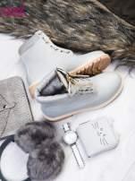 Szare skórzane traperki leather Fancy ze złotym suwakiem i dodatkami                                  zdj.                                  2