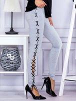 Szare sznurowane legginsy                                   zdj.                                  5