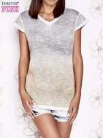 Szaro-beżowy t-shirt z efektem ombre                                  zdj.                                  1