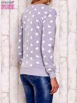 Szaro-biała bluza z nadrukiem serduszek
