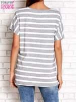 Szaro-biały t-shirt w paski z napisem DAYDREAM NATION                                                                          zdj.                                                                         4