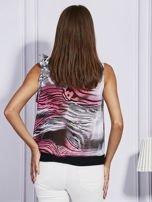 Szaro-różowa bluzka mgiełka z wiązaniem                                  zdj.                                  2