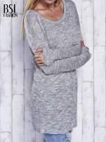 Szary melanżowy sweter z łezką na plecach                                                                          zdj.                                                                         4