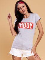 Szary t-shirt damski OH BOY                                  zdj.                                  1