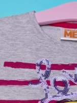 Szary t-shirt dla dziewczynki MINIONKI z cekinami                                  zdj.                                  5