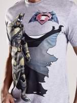 Szary t-shirt męski z nadrukiem BATMAN V SUPERMAN                                  zdj.                                  6