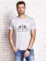Szary t-shirt męski z nadrukiem mostu i napisem CALIFORNIA 66                                  zdj.                                  2