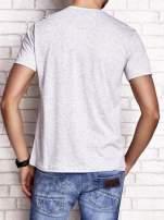 Szary t-shirt męski z napisami i kotwicą