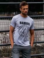 Szary t-shirt męski z napisem RAMOS i nadrukiem                                  zdj.                                  1