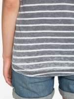 Szary t-shirt w paski z napisem FIRENZE TOSCANA                                  zdj.                                  10
