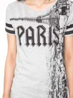 Szary t-shirt z motywem Paryża                                  zdj.                                  7