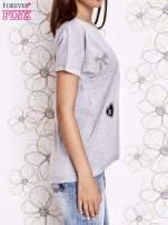 Szary t-shirt z motywem serca i kokardki                                  zdj.                                  3