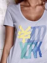 Szary t-shirt z nadrukiem ZOO YORK                                  zdj.                                  6