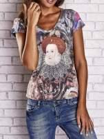 Szary t-shirt z nadrukiem graffiti i królowej                                  zdj.                                  1