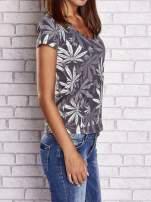 Szary t-shirt z nadrukiem liści weed ganja                                  zdj.                                  3