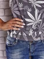 Szary t-shirt z nadrukiem liści weed ganja                                  zdj.                                  6