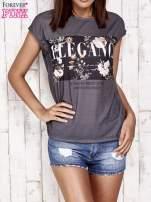 Szary t-shirt z napisem ELEGANCE                                  zdj.                                  1