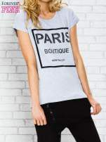 Szary t-shirt z napisem PARIS BOUTIQUE z dżetami                                  zdj.                                  3