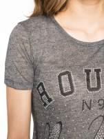 Szary t-shirt z napisem ROUTE NEW YORK                                  zdj.                                  5