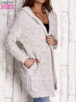 Szary włochaty sweter z kapturem                                                                          zdj.                                                                         3