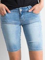Szorty jeansowe z przetarciami niebieskie                                  zdj.                                  1