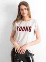 T-shirt beżowy Young                                  zdj.                                  1