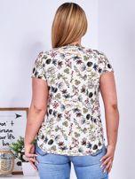 T-shirt beżowy w kolorowe kwiaty PLUS SIZE                                  zdj.                                  2