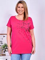 T-shirt ciemnoróżowy z gwiazdą z perełek PLUS SIZE                                  zdj.                                  1