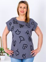 T-shirt ciemnoszary z nadrukiem PLUS SIZE                                  zdj.                                  1