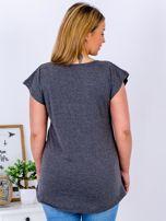 T-shirt ciemnoszary z nadrukiem boho PLUS SIZE                                  zdj.                                  2