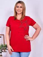 T-shirt czerwony z gwiazdą z perełek PLUS SIZE                                  zdj.                                  1