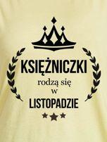 T-shirt damski KSIĘŻNICZKI z nadrukiem korony żółty                                  zdj.                                  2