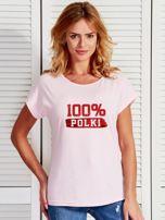T-shirt damski patriotyczny 100% POLKI jasnoróżowy                                  zdj.                                  1