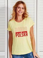 T-shirt damski patriotyczny DOBRA BO POLSKA żółty                                  zdj.                                  1