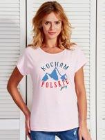 T-shirt damski patriotyczny KOCHAM POLSKIE GÓRY jasnoróżowy                                  zdj.                                  1