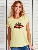 T-shirt damski patriotyczny z nadrukiem Orła Białego żółty                                  zdj.                                  1