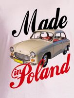 T-shirt damski z nadrukiem samochodu Syrenki jasnoróżowy                                  zdj.                                  2