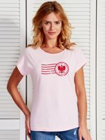 T-shirt damski z patriotycznym nadrukiem jasnoróżowy                                  zdj.                                  1