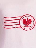 T-shirt damski z patriotycznym nadrukiem jasnoróżowy                                  zdj.                                  2