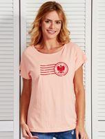T-shirt damski z patriotycznym nadrukiem łososiowy                                  zdj.                                  1