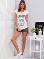 T-shirt ecru SHOPPING IS MY CARDIO                                  zdj.                                  4