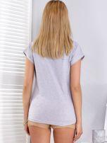 T-shirt jasnoszary w kwiaty                                  zdj.                                  2